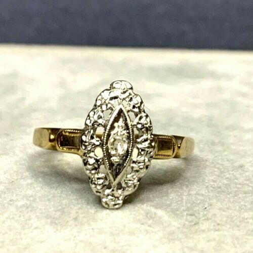 Antique Victorian 14k Yellow and White Gold Pierc… - image 1