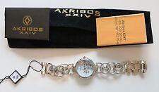 Akribos XXIV Damas Flor Dama AK645 Diamante Círculo Enlace pulsera reloj RRP$ 395