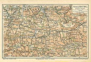 alte landkarte Alte historische Landkarte 1890: Salzburg Kärnten Steiermark  alte landkarte