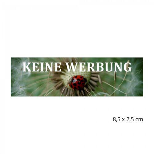 Bitte keine Werbung Schild Aufkleber wetterfest mit Motiv Pusteblume