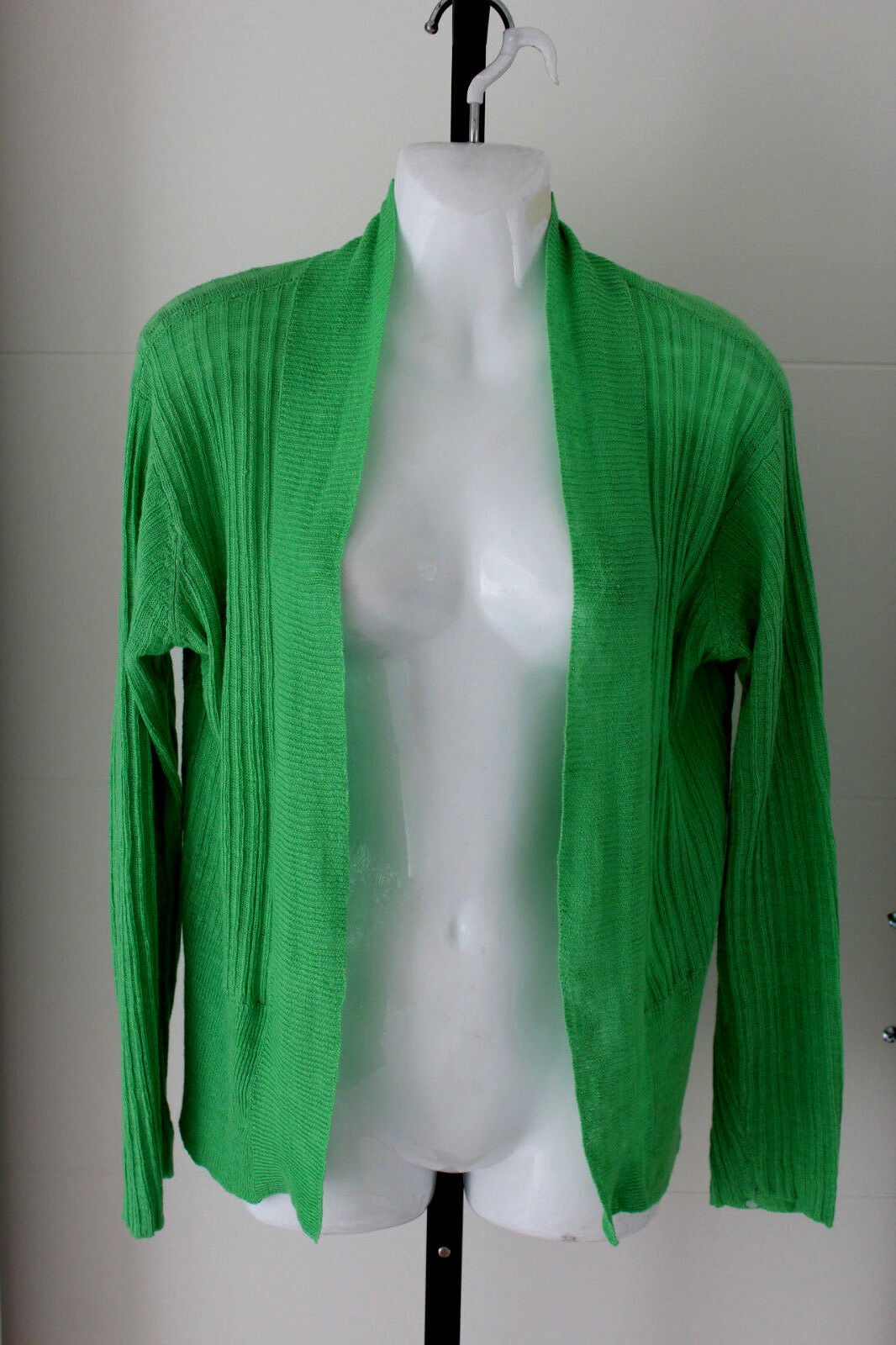 Eileen Fisher NWOT NWOT NWOT green 100% linen long sleeve open front cardigan size M L 4cbb12