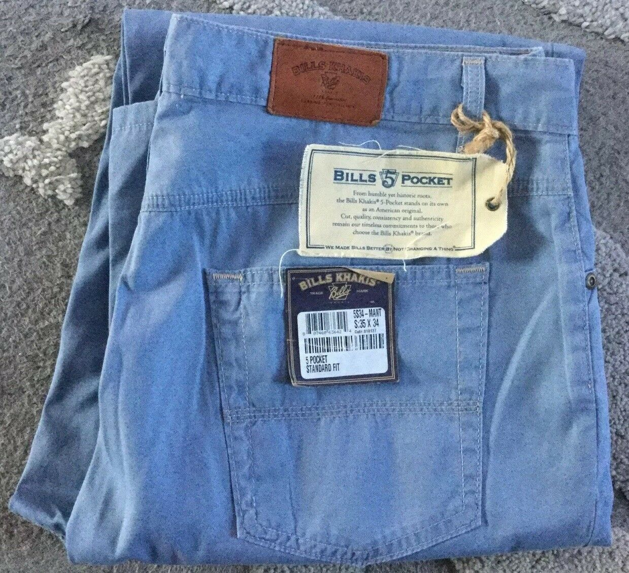 NWT Bills Khakis 5S34-MANT Cotton lyocell NASSAU TWILL SOFT LIGHT blueE 35X34