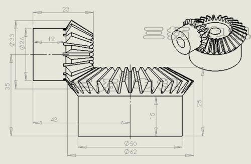1:3 15T//30T Paring Bore 8mm 90° 1Set Metal Bevel Gears 1.5//2Mod 1:2 15T//45T