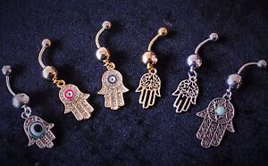 Details About Hamsa Hand Of Fatima Evil Eye Gem Dangle Belly Navel Piercing Jewellery Bar Ring