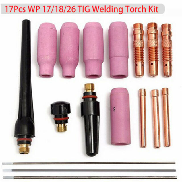 TIG Welder Torch Cup Collet Body Nozzle Tungsten 10 Gas Lens Kit WP 17 18 26