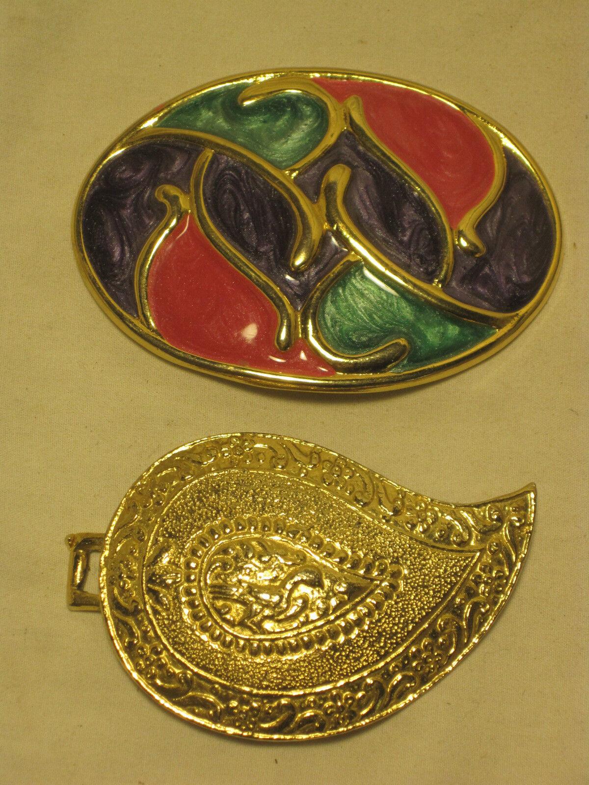 2 vintage women's belt buckle buckles 1985 Gay Boyer ornate Nan Lewis enamel