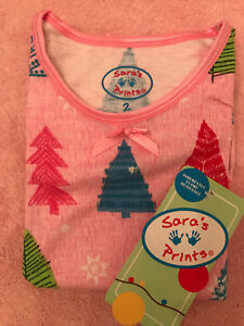 Nwt Limpid In Sight Size 2 Collection Here Sara's Prints Girl's Christmas Tree Nightgown