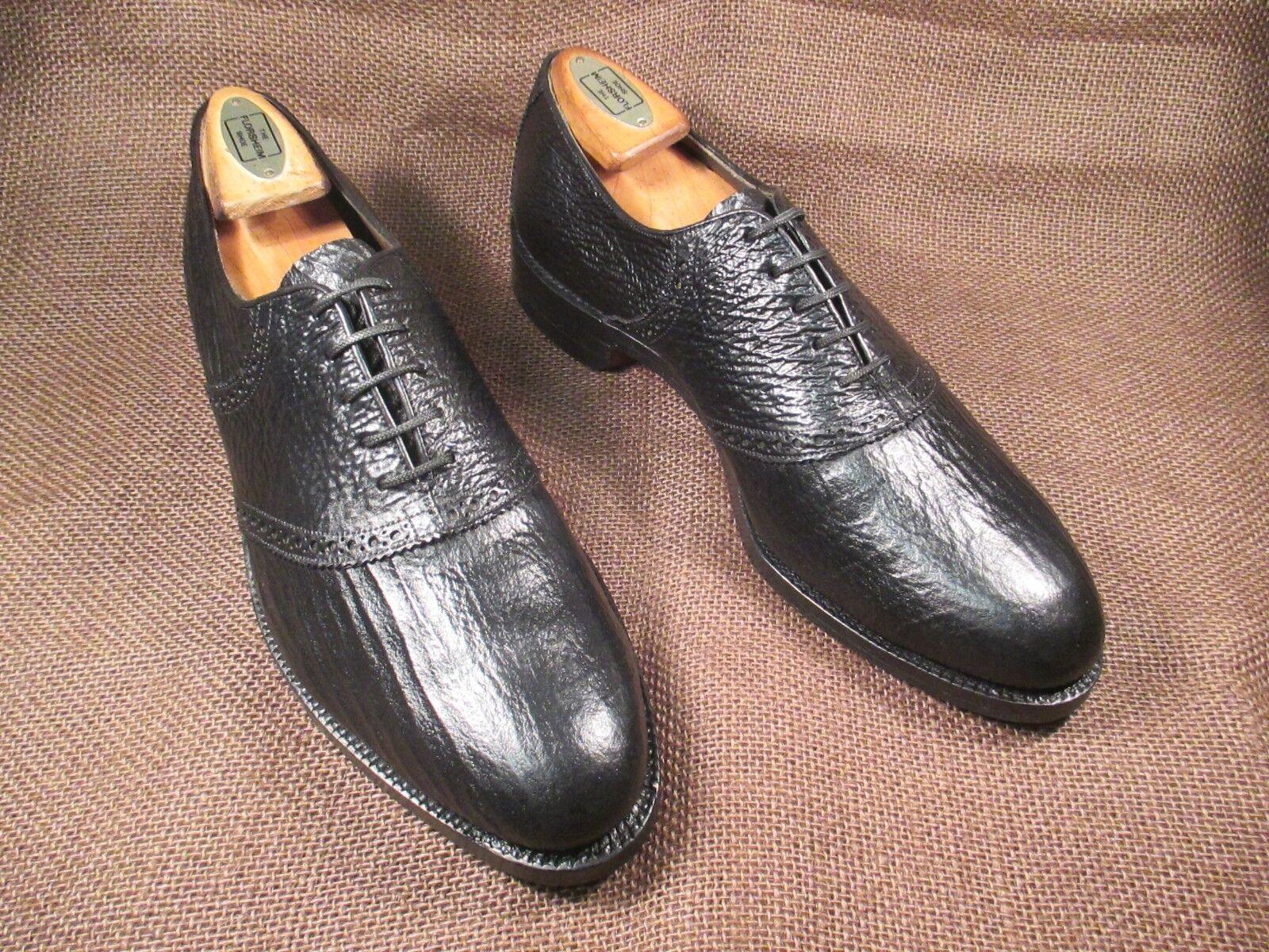 Black Genuine Shark Leather Saddle Oxfords V- CLEAT SHOES SIZE 7.5D