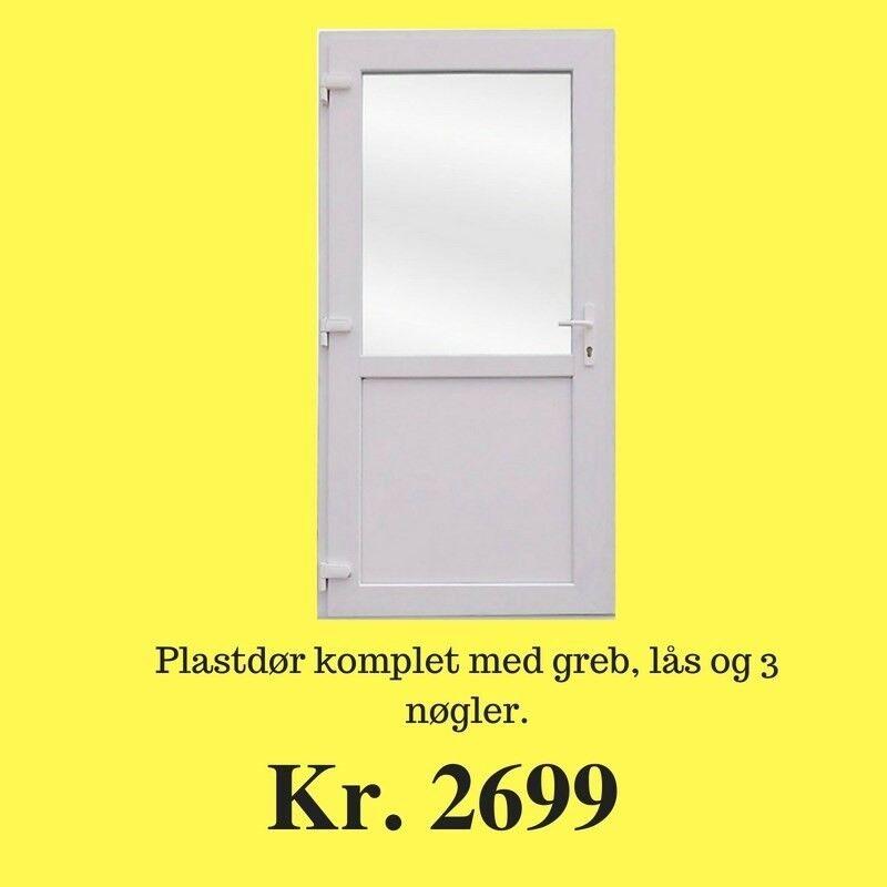 Facadedør, plast, b: 98 h: 198