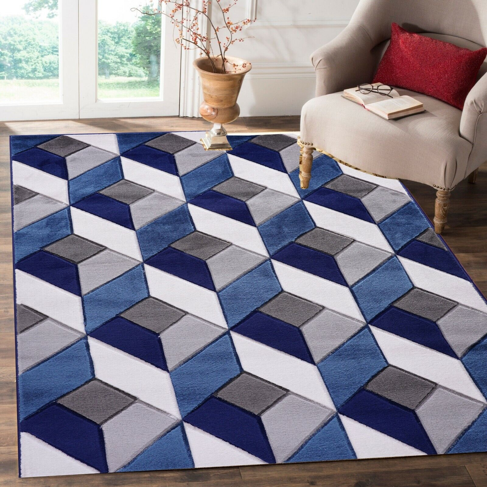 Details About Geometric Living Room Floor Carpets Rug Runner Mats Triangle Pattern Blue Grey