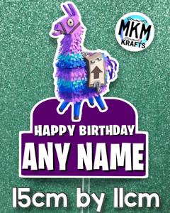 Fortnite Purple Loot Llama Card Cake Topper HAPPY BIRTHDAY ...