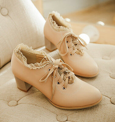 Lolita Vintage Lace Shoes Womens Block Mid Heels Lace Up Oxford Sweet Shoes