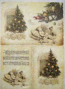 Papel De Arroz Para Decoupage Scrapbook Craft árbol de Navidad Vintage 264