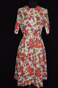 RARE-FRENCH-VINTAGE-1960-039-S-NYLON-FLORAL-DAY-DRESS-SIZE-6