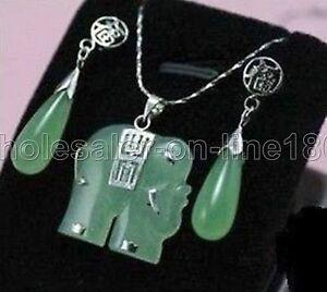 New-Set-Green-Jade-Pendant-Silver-Earring-Hook-Teardrop-Dangle-Earrings-AAA