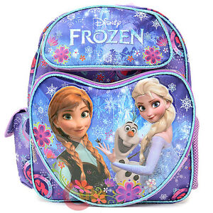 "Disney Frozen 12"" School Backpack Elsa Anna Olaf Bag Purple Snowflakes Heart"