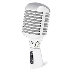 Pyle Classic Retro Metal Vintage Style Dynamic Vocal Microphone 16ftCable Silver