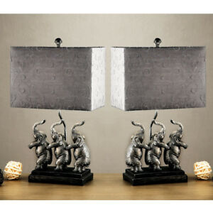 Image Is Loading Set Of 2 Table Lamps Lamp Lighting Wide