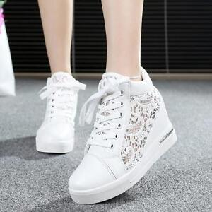472f0e3f3ca5 Women Mesh Round Toe Hollow Platform Wedge Shoes Lace Up High Top ...
