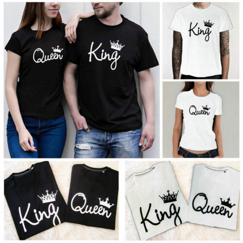 Hot Sweet Couple T-Shirt King And Queen Love Romantic Matching Tee Tops Clothes