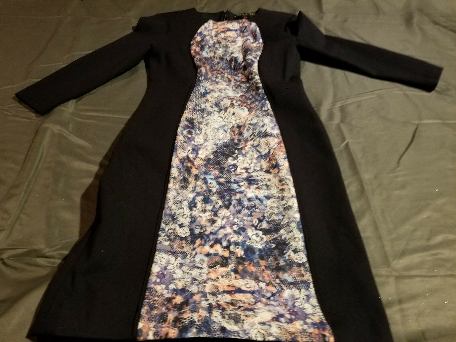 Dress, ANTONIO MELANI Navy bluee & Multi- floral pencil style 3 4  sleeves Size 2