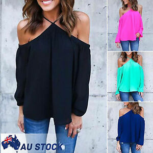 Womens-Cold-Off-The-Shoulder-Loose-Long-Sleeve-T-Shirt-Party-Tops-Blouse-Shirts