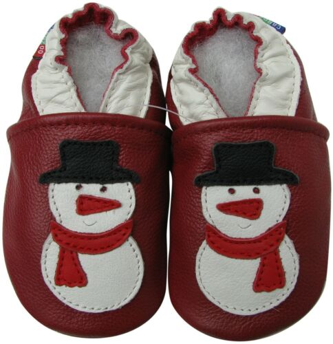 carozoo snowman dark red 4-5y soft sole leather kid shoes slippers