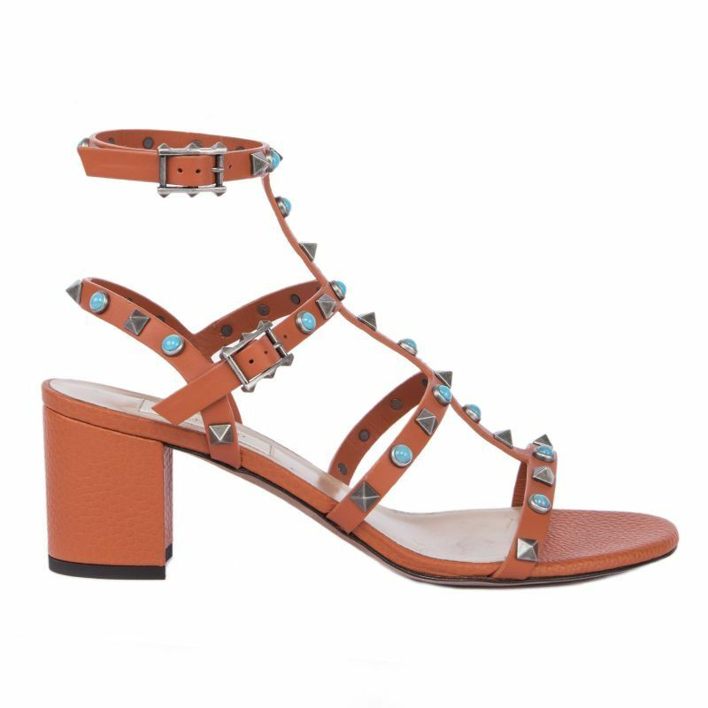 54727 auth VALENTINO orange leather ROCKSTUD CITY Block-Heel Sandals shoes 37.5