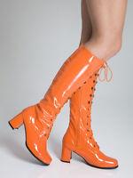 Orange Knee High Boots - Party Fashion Eyelet Boots - Size 3 Uk - Orange Patent