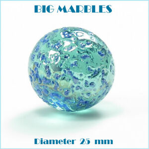 Jumbo-Green-with-blue-marks-Glass-Color-BIG-Marbles-Assorted-Qty-1-2-3-4-5
