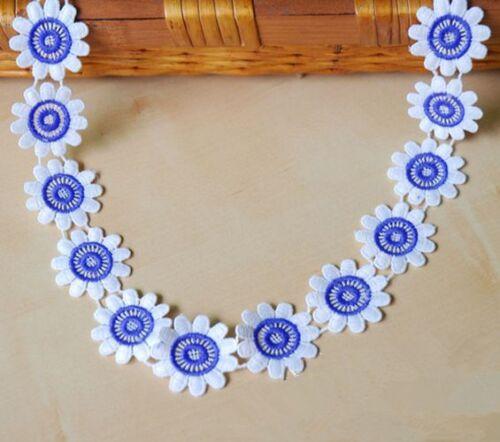 1 Yd Fleurs de dentelle coton Crochet Trim Wedding Bridal Ribbon Sewing À faire soi-même environ 0.91 m