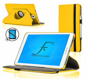 new concept 0f1ba 7b7a9 Details about Leather Yellow Rotating Case Samsung Galaxy Tab E 9.6 Screen  Prot Stylus