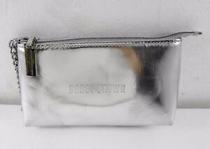 Details About Bobbi Brown Metallic Silver Makeup Bag Cosmetic Case Wristlet Wallet Purse