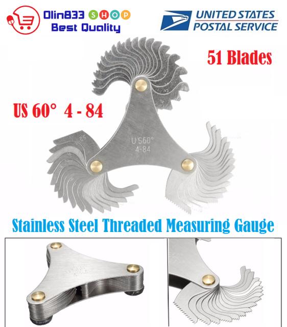 51 Blades Metric US 60° Thread Gauge Gage Screw Pitch Tool Measuring 4-84 TPI