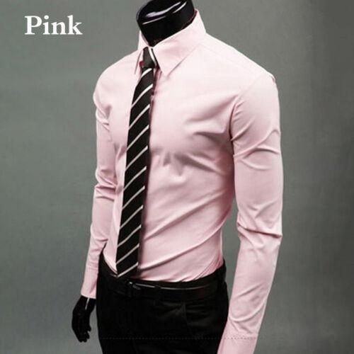 Mens Stylish Casual Dress Shirt Slim Fit T-Shirts Formal Long Sleeve Tops Tees