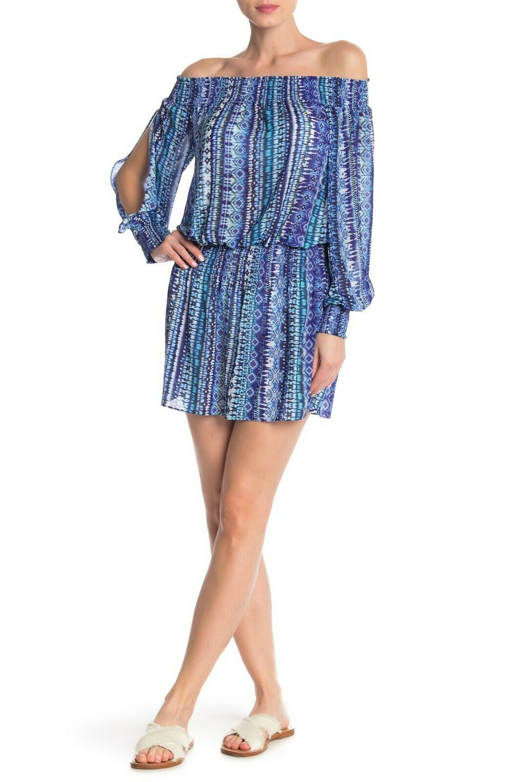 Ramy Brook Printed Lucia Long Cleaves Off the Shoulder Mini Dress blå Storlek XS