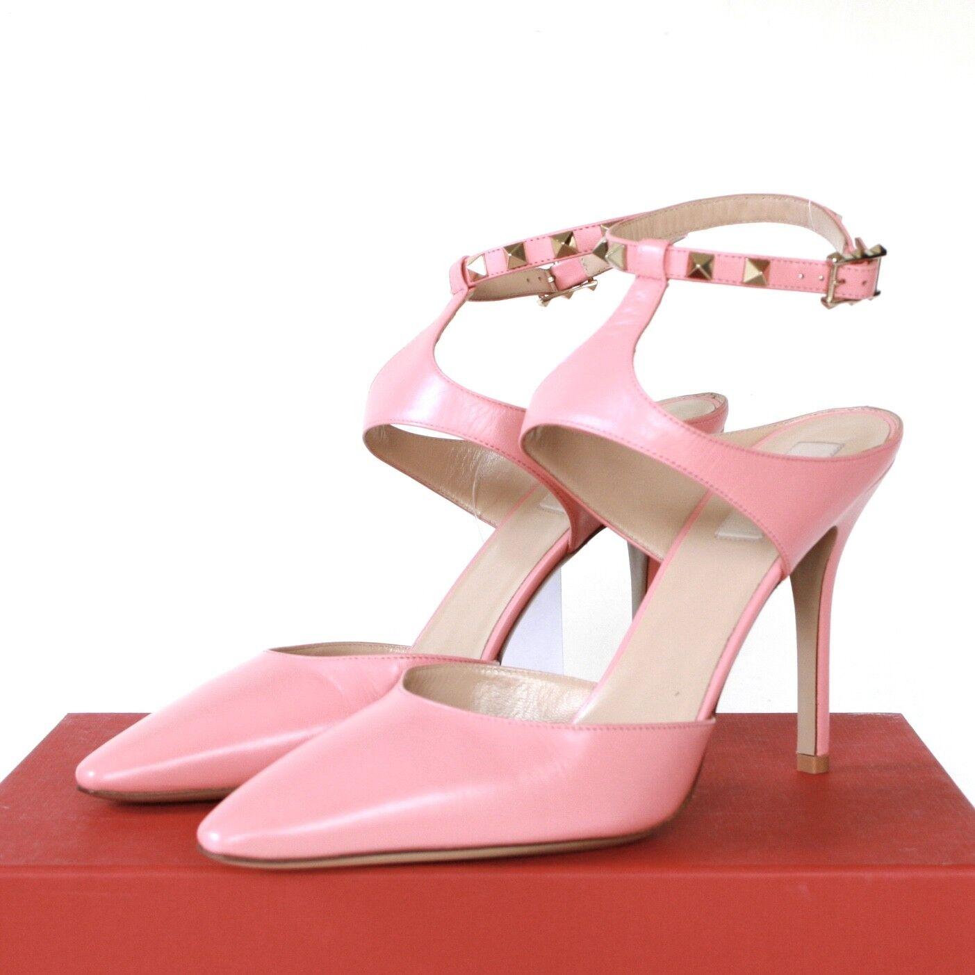 grandi prezzi scontati VALENTINO GARAVANI rosa leather leather leather rockstud pointed toe high heel stud scarpe 40 NEW  forniamo il meglio