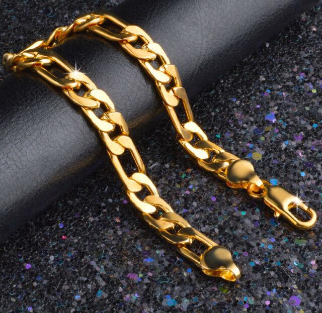 24k Gold Bracelets Men s Bold Figaro Style Cuban Link Chain +GiftPk D471G 1ac801e5c869
