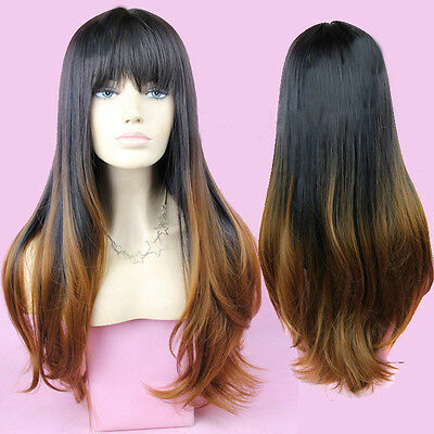 Glamour Women's Long Full Wig Curly Wavy Hair Party Cosplay Black Ombre Brown
