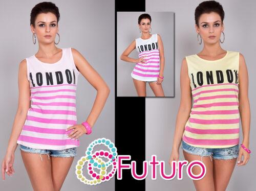 Ladies Casual Vest Top LONDON Print Sleeveless Cotton T-Shirt Sizes 8-12 FB26