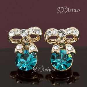 18k-rose-gold-gf-made-with-Swarovski-crystal-bow-tie-blue-stud-fashion-earrings