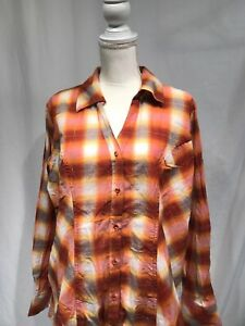 4820d5a0 Cato Women's Button Up Orange and White Plaid Long Sleeve Shirt Size ...