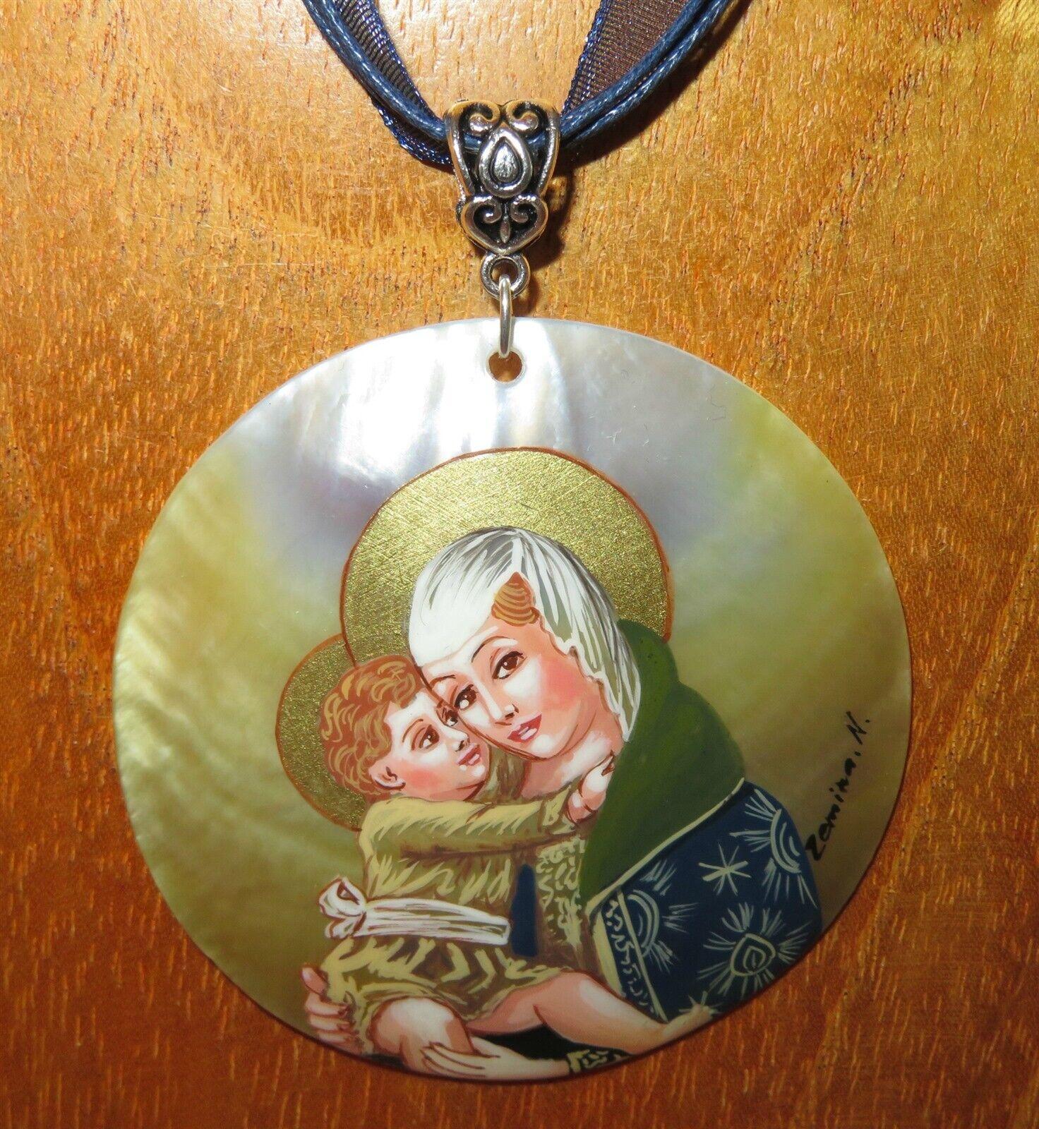 Carlo Tapiz Crivelli Colgante Virgen y Niño Original Pintado a Mano Carcasa