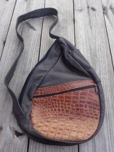 Women-Dark-Brown-Leather-Alligator-Pattern-Messenger-Sling-Shoulder-Purse