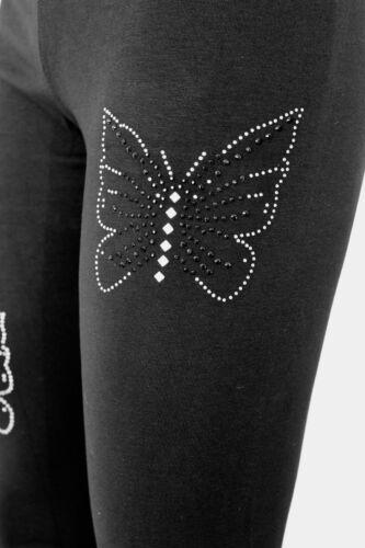 Leggings Strass Damenleggings Schmetterling Steinchen schwarz XS bis XL