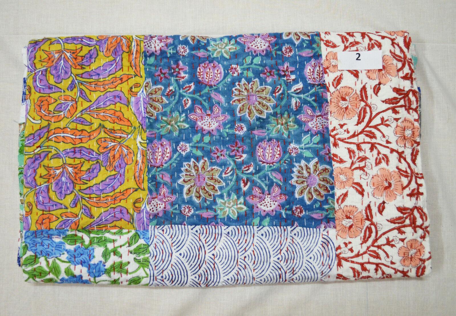 Indian Cotton Bedspread Blanket Kantha Quilt Assorted Patchwork Coverlet Bedding