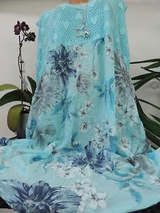 Damen Kleid Größe 52 54 56 58 60 Übergröße Kleider Maxikleid Spitze Blumen 104  eBay