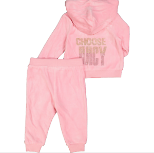 1d42781184 Details about JUICY COUTURE baby girl pink velour Hooded TRACKSUIT 3/6M  6/9M full zip BNWT