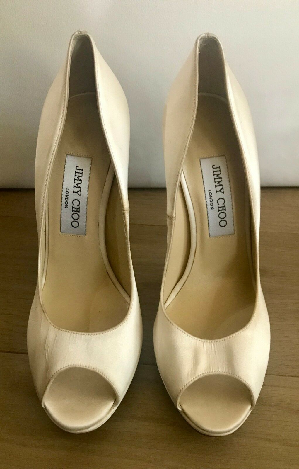 Jimmy in Choo - 5 in Jimmy (approx. 12.70 cm) Boda Satén Zapatos Con Plataforma- b8b1a8