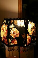 "Victorian French  Large Floor Table Lamp Shade ""Heiress""  Black Rose Bead Fringe"